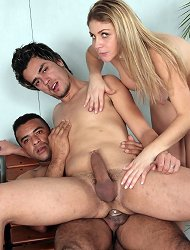 Cock greedy Camily in nasty threesome ass fucking with two hard bodies bisexuals