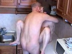 Young twink gets his pretty tight ass spoiled right in the kitchen