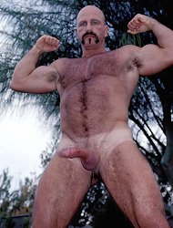 Tough looking gay bear naked outdoor while beating off his meat stick in this live solo clip
