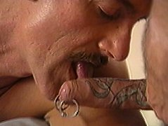 Naughty old guys get kinky with their pierced and tattooed dicks getting sucked