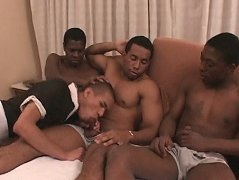 Three horse-hung black dudes have this sexy boy-maid suck their cocks and fuck him raw