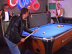 After their pool game, they sucked on their fuck sticks together to shoot cum