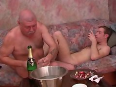 Gay daddy and son going down and dirty after having a couple of shots