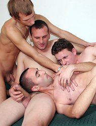 Two horny gay couples get drunk to add even more spice to their foursome bareback sex