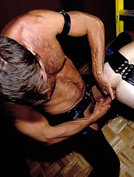 Gay bear stud gagging on a stiff dick