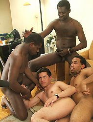 Cute white guy getting team-fucked and eating cum from three big black anus explorers