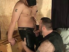 Big hairy bear squats down so he can give some lip service to his leather wearing master