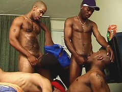 Queer white guy joins a group of bigcocked black thugs for some nasty oral and anal action