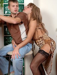 Sissy in a leopard print dress lets his animal instincts go wild in gay sex