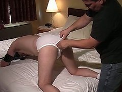 A lowly bear slave gets led to the bedroom where his ass is beaten and he sucks cock