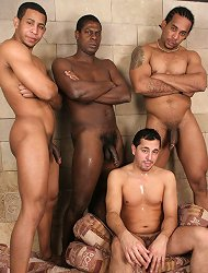Taking 3 massive black cocks in his every hole is a new experience this guy loves big time