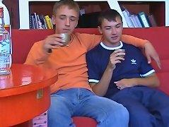 Two sexy 20 y.o. boys share a friendly drink and end up sucking each other`s hard creamy cocks