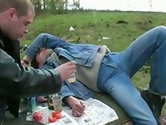 When his pal blacks out from the booze, he pounces on his pal%uFFFDs prick!