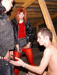 Two smoking transexuals use secret garret as a place for hot gay oral hardcore with strangers