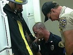 A threesome of their dreams, with a fireman and two cops sucking on some cocks