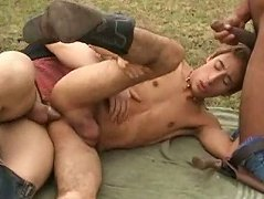 Two horny Wild West cowboys capture a cute guy on a farm and fuck his tight ass with no mercy
