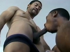 Ebony rod pokes black guy\'s butt. Horny black studs mouth fucking