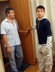 Mature guest takes a sweet twink right on the carpet. Twink invites an older man