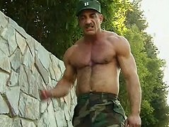 I wouldn't fuck with this buff sergeant after he stuffs his dick in this guy's mouth