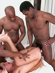 Sexy white boy meets three hung black men to get a-bucked, face-fucked and take a mouthful of cum