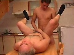 Old horny guy enjoys having a hot twink%uFFFDs dick deep in his ass. Old ass banging in the kitchen
